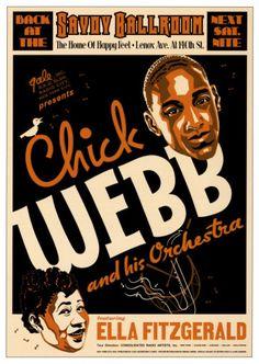 Jazz : Ella Fitzgerald & Chick Webb at The Savoy Ballroom New York Poster 1935 Ella Fitzgerald, Poster Jazz, Vintage Posters, Vintage Art, Vintage Music, Vintage Dance, Retro Posters, Vintage Graphic, Vintage Images