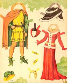 ROBIN HOOD and MAID MARIAN Paper Dolls ☆ Saalfield #1761 ☆ Book was also published as #2784 and #2748. The original cover is a little different than this one and was first published in 1956. ☆ 4 of 8