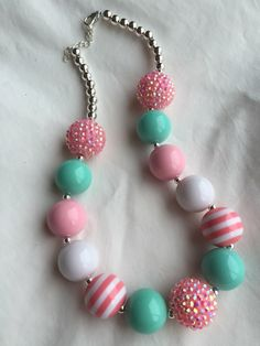 A personal favorite from my Etsy shop https://www.etsy.com/listing/221239286/light-pink-and-turquoise-girls-chunky