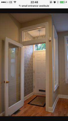 Entrance--building a vestibule Small Entrance, Entrance Foyer, House Entrance, Entry Foyer, Foyer Design, House Design, Sas Entree, Door Dividers, Home Upgrades