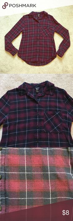 Forever 21 Purple/navy Flannel Super soft Flannel from Forever 21 in purple, navy, and White.  Mild piling but otherwise in great condition!  Size small. Forever 21 Tops Button Down Shirts
