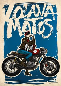 Lolana Motorcycles café racer girl illustration! [ source: Lolana Motos blog | more motorcycle art ]