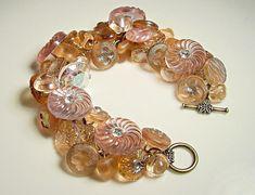 Handmade Button Bracelet Vintage Tea Rose Czech by 2Good2BeThrough, $99.00