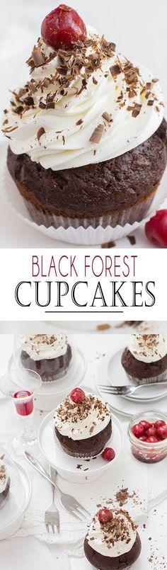 Black Forest Cupcakes with juicy Cherrys and a perfect cream topping | Schwarzwälder Kirsch Cupcakes mit saftigen Kirschen und einer perfekten Sahnehaube