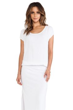 Monrow Crepe Woven Maxi Dress in White from REVOLVEclothing