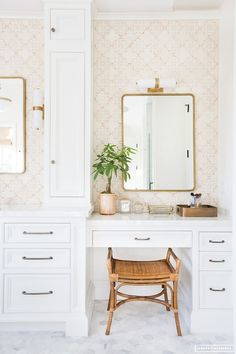 built-in vanity boasts white shaker cabinets with bronze hardware and a dr. White built-in vanity boasts white shaker cabinets with bronze hardware and a dr.,White built-in vanity boasts white shaker cabinets with bron. Bad Inspiration, Bathroom Inspiration, Bathroom Vanity Stool, Bathroom Vanities, Bathroom With Makeup Vanity, Remodel Bathroom, Washroom, Bathroom Cabinets, Bathroom Remodeling