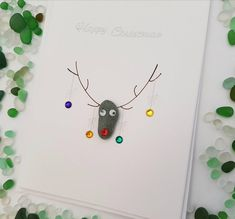 Unique pebble reindeer christmas Cards handmade Nadolig Llawen Happy Christmas - All About Events Christmas Card Pictures, Funny Christmas Cards, Christmas Cards To Make, Christmas Ecards, Christmas Pebble Art, Christmas Art, Handmade Christmas, Christmas Baubles, Reindeer Christmas