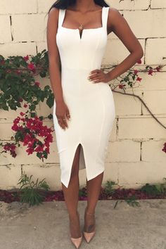 Solid Color Slit Bodycon Dress WHITE: Bodycon Dresses | ZAFUL