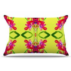 East Urban Home Tropical Floral Orchids by Dawid Roc Pillow Sham Size: Standard, Color: Yellow/Red