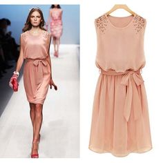 $10.49Fashion O Neck Tank Sleeveless Waist Skirt Pink Chiffon Knee Length Dress
