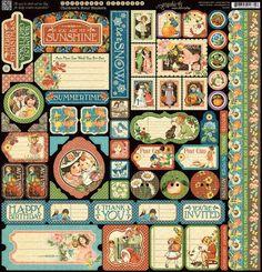 Graphic 45 - Children's Hour - 12 x 12 Cardstock Sticker Sheet