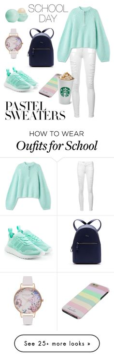 """""""SCHOOL DAY SWEATERS"""" by valerie-ledoux on Polyvore featuring Lacoste, Frame, adidas Originals, Olivia Burton, Eos and pastelsweaters"""