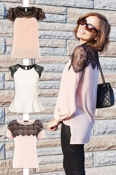 Great DIY Clothes idea for dressing up a plain blouse or tshirt: add lace to the top of your shirts to make dressy.
