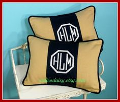 Set of Two - Monogrammed Personalized Color Block Pillow Cover - Lumbar Size 12 x 16. $74.00, via Etsy.