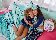 Our super fun collection of desert-inspired sleeping bags and cute critter pillows will make her want to hug somebody.