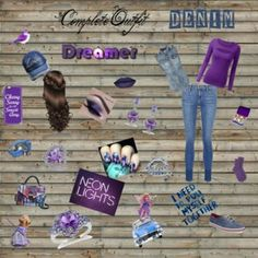 Denim & Purple Outfit