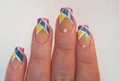 Color blocked tips - nail design