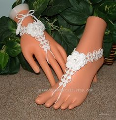 Beach Wedding Barefoot Sandals for Brides Ivory Anklet White Foot Jewelry Lace Accessories Womens Accessory Gift  #1641 Rose Beach Wedding