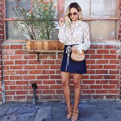 70's vibes today in denim and lace #ootd