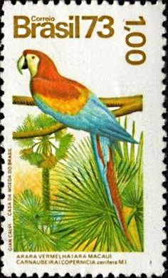 BRAZIL #1330 mnh PARROT bird SCARLET MACAW camauba palm