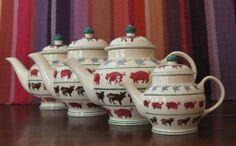 Emma Bridgewater Farmyard Variety of different sized Teapots