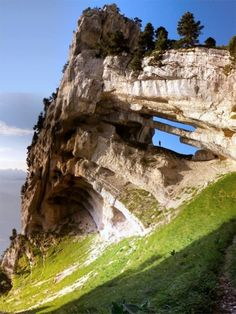 Double arch in the Chartreuse Mountains, French Alps