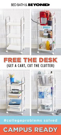 It's hard to focus when you're surrounded by clutter. Clear your desk (or counter, or table) and use a rolling cart to hold books, supplies, coffee, and candy (you know, the essentials). #collegeproblems solved