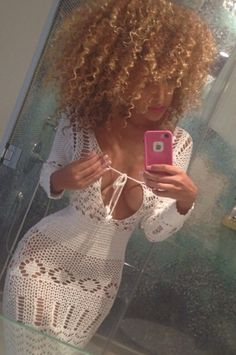 Leggings dress white crochet dress cover up white dress knitted dress white cover up cotton summer Curly Hair Styles, Natural Hair Styles, Summer Outfits, Cute Outfits, Edgy Outfits, Big Hair, Mode Inspiration, Fashion Killa, The Dress