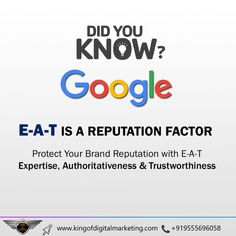 Google E-A-T Factor Protects your Brand Reputation Expertise, Authoritativeness, trustworthiness helps you manage your online reputation. The Knowledge, Reliability, and Honesty of any website helps in increasing the reputation of your brand. Honesty, Cool Websites, Factors, Did You Know, Digital Marketing, Knowledge, Google, Facts