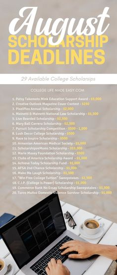 A list of August Scholarships with 29 deadlines this year. Apply for these summe… A list of August Scholarships with 29 deadlines this year. Apply for these summe… – - Earn College Scholarships Scholarships For College Students, School Scholarship, College Majors, Education College, Health Education, Physical Education, Undergraduate Scholarships, Education Degree, College Courses