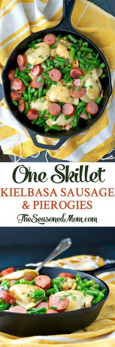 One Skillet Kielbasa Sausage and Pierogies is an easy dinner in just 5 minutes!