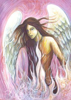 Archangel Uriel - Alchemy - Painting,  33x45 cm ©2015 by Toni Carmine Salerno -                                            Paper, Spirituality, archangel_uriel, angel, alchemy