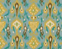 Aqua Blue and Yellow Ikat Upholstery Fabric for Furniture - Light Blue Ikat Curtain Material - Ikat Bedding Fabric Online - Aqua Ikat Pillow