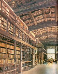 "The Bodleian Library, Oxford University, England. Known to Oxford scholars as ""Bodley"" or simply ""the Bod"", it serves as the main research library of the university. The Library occupies a group of five buildings built from the late medieval period (Duke Humfrey's Library, shown in the first photo) to the 1930s (the New Bodleian). Arts End (shown in the foreground of the second photo) was built in 1610-1613 and was the first English instance of book shelving being built along the walls…"