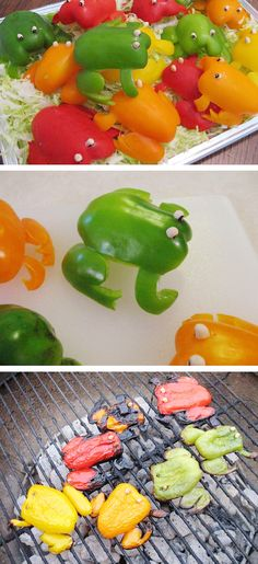 Pepper Frogs - such a fun way to get kids to enjoy these colorful veggies!