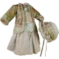 Wonderful French aqua flowered velvet and satin couturier antique doll dress with matching exceptional wired bonnet