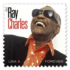 Ray Charles - These self-adhesive stamps are being issued in sheets of 16.  The U.S. Postal Service® proudly honors inspiring musician Ray Charles with a stamp, one of several that inaugurates the Music Icons series.