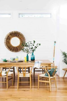 Step inside an enchanting family getaway on NSW's south coast Nestled on the south coast of New Sout Interior Decorating Tips, Interior Design, Decorating Ideas, Oz Design Furniture, Kitchen Dinning Room, Dining Rooms, Rustic Stools, Dining Chairs, Dining Table
