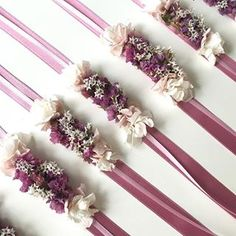 Put flowers and magic in the lives of those we love 💜💜💜 Delight her bridesmaids 💗💗💗 Bracelets LILLA to find on the site www. Ribbon Flower Tutorial, Graduation Party Decor, Wrist Corsage, Bridesmaid Bracelet, Flower Bracelet, Our Love, Flower Art, Marie, Hair Accessories