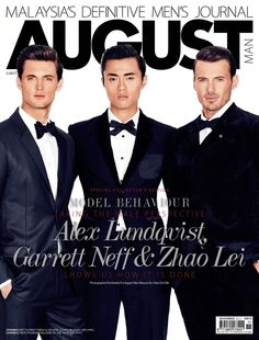 Alex Lundqvist, Garrett Neff & Zhao Lei Grace August Man Malaysias November 2012 Cover Together