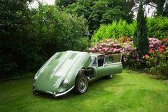 Jaguar E-Type Coupe in a country garden.