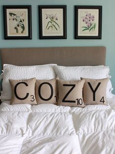 Scrabble Letters Pillows on etsy.com. What a cute way to decorate your family/game room!