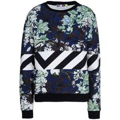 MSGM Mixed-Print Sweatshirt ($150) ❤ liked on Polyvore
