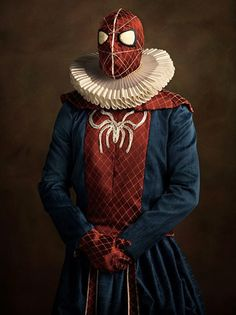 Superheroes and Supervillains Rendered as Flemish Paintings Superheroes and supervillains, and several strong personalities in between, are reimagined by photographer Sacha Goldberger as Flemish Baroque portraits from the 1600s, complete with handmade costumes, props, and nobly introspective gazes.