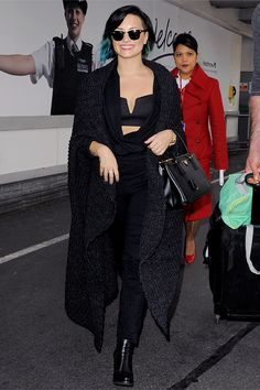 Demi Lovato arriving at london heathrow airport in london