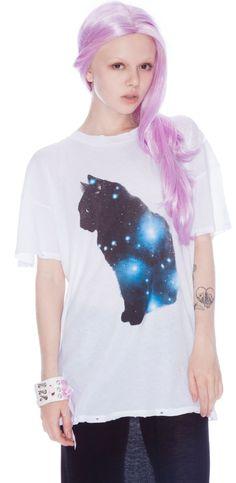 Wildfox Couture Galaxy Cat Donovan Tee | Dolls Kill
