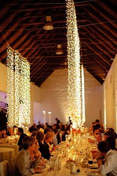 Light up your reception site with these spectacular hanging string lights / http://www.deerpearlflowers.com/romantic-wedding-lightning-ideas/2/