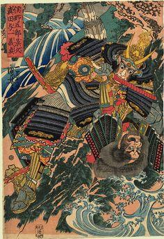Kuniyoshi 1845 Matano Gorô Kagehisa and Sanada Yoichi Yoshisada struggling on the rocks by a waterfall at Ishibashiyama Japanese Art Modern, Traditional Japanese Art, Japanese Prints, Japanese Design, Samourai Tattoo, Japan Tattoo Design, Arte Ninja, Japanese Woodcut, Grand Art