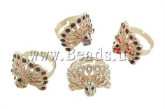 Zinc Alloy #Finger #Ring , with iron, Peacock, with #rhinestone, mixed colors http://www.beads.us/product/Zinc-Alloy-Finger-Ring_p19954.html?Utm_rid=219754