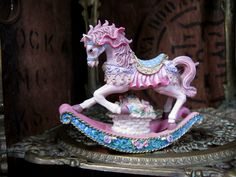 Shudehill Rocking Horse, Rocking Horse Ornament, Pink Rocking Horse, Nursery Decor, Horse Lover, Unicorn, Vintage Fairground, Pink Ornament by MissieMooVintageRoom on Etsy